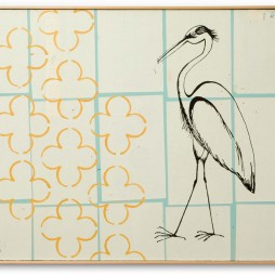 Untitled (Heron on Squares) - mixed media collage on canvas 30 x 40 inches, 2006