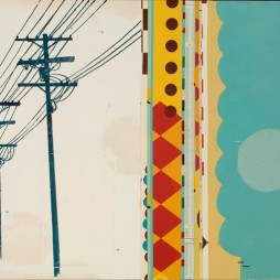 (In Between) Here and There - mixed media collage on panel, 21 x 34 inches, 2008