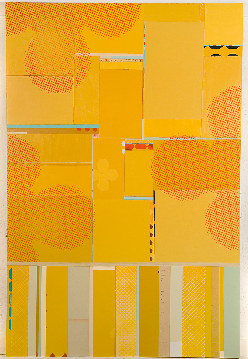 I Am Lucky Too - mixed media collage on panel, 78 x 48 inches, 2008 // SOLD