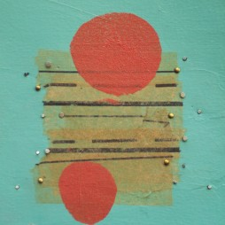 Untitled (two red dots) - mixed media collage on panel, 10 x 8 inches, 2006